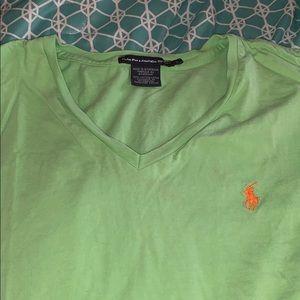 Apple Green Ralph Lauren v neck shirt
